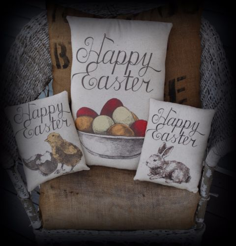Easter Spring Eggs Happy Pillow collection trio set rabbit eggs chicks primitive