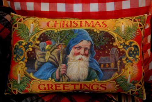 GORGEOUS Santa Claus Christmas Greeting throw pillow gift German Belsnickle blue