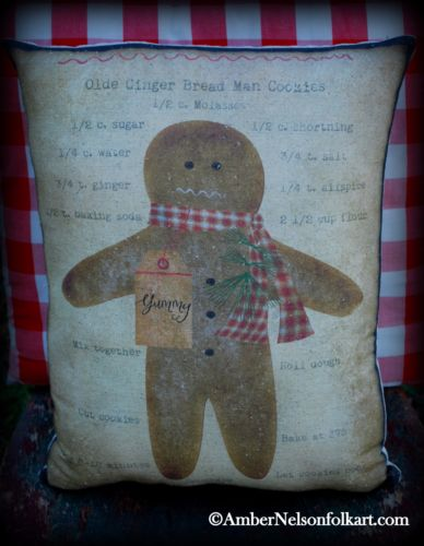Primitive gingerbread man pillow recipe kitchen cupboard tuck darling Christmas