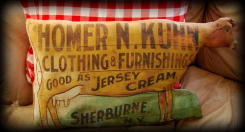 HUGE primitive antique old cow pillow dry goods store advertisement sign general