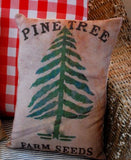 Primitive Christmas tree farm pine seeds bag pillow throw living room sofa xmas