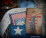 Patriotic 4th of July liberty wings American flag stars stripes pillow antique