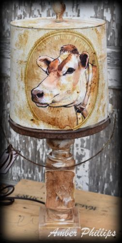 Primitive Farmhouse white milk bucket cow lamp rusty BEAUTIFUL handmade rustic