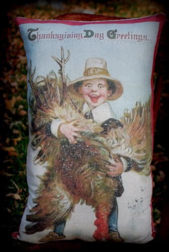Thanksgiving day greeting decor boy hunting Turkey vintage old pc pillow antique