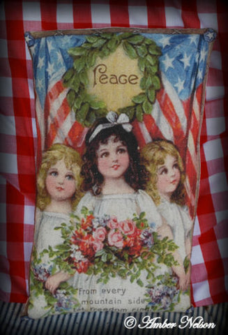 Patriotic 4th of July vintage flag wreath pillow victorian floral children peace