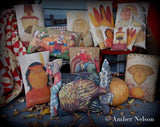 Thanksgiving day dinner decor primitive pilgrims turkey throw pillow set of 4