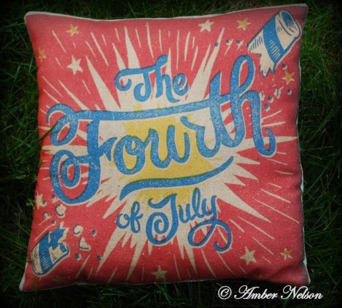 Patriotic 4th of July independence day fireworks firecracker pillow red blue