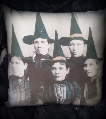 Antique Halloween photo pillow witches witch coven portraits old primitive