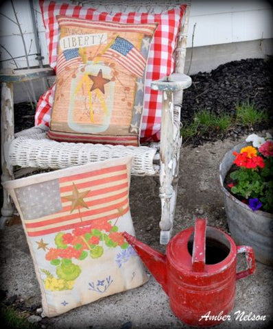 primitive farmhouse country porch pillow liberty 4th of July flags old jar stars