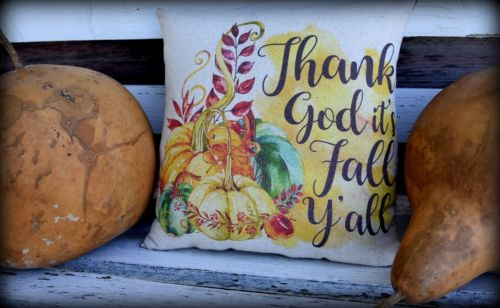 Thank God It's Fall Y'all sign pillow pumpkin harvest leaves porch rocker pillow