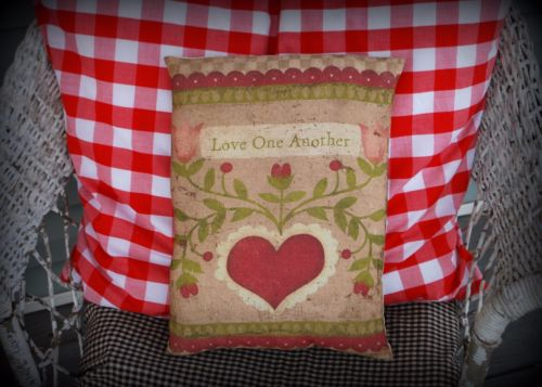 Valentines day Love one another heart fraktur antique look pillow gift