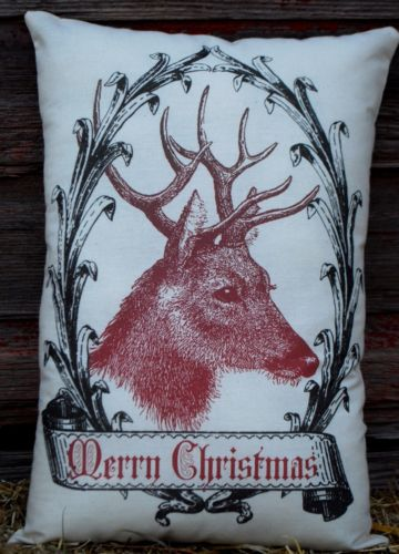 Christmas Santa Claus Reindeer Elk Deer cabin winter french country merry pillow