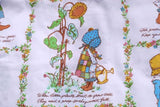 Vintage bright and crisp huge piece of Holly Hobbie fabric old sweet doll bonnet