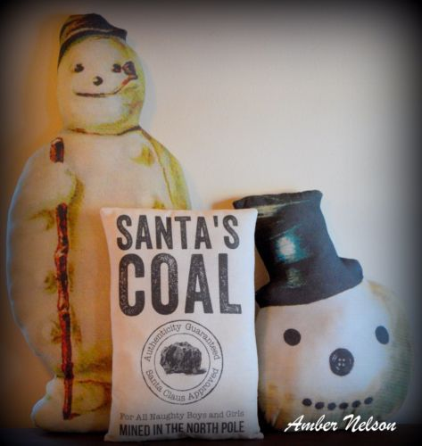 Santa's coal sack pillow snowman frosty decoration Christmas north pole stamp