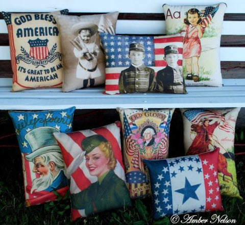 AWESOME 4th of July embossed antique postcard pillow Uncle Sam fire cracker
