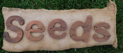 Old burlap seeds bag sign garden pillow porch bench swing decor wooden shaker