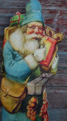 BLue primitive Christmas Santa Claus Belsnickle standing pencil tall doll tree