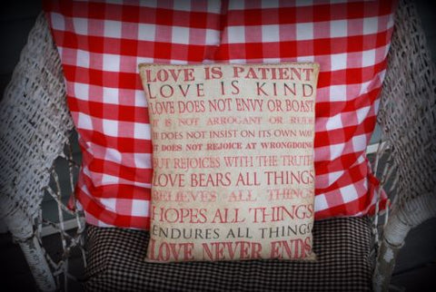 Valentines day wedding gift Love is patient Corinthians 13:4 sign message