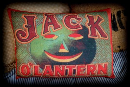 Halloween old game board graphics Jack O Lantern red robins egg pumpkin pillow
