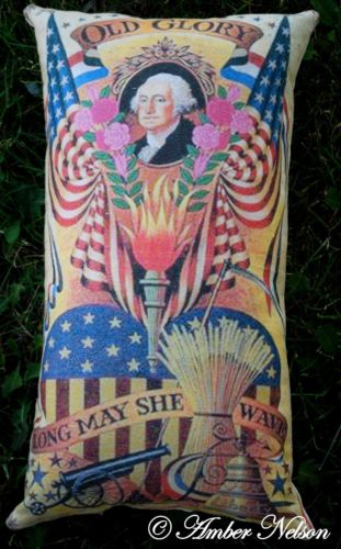 4th of July Old glory flag pillow George Washington postcard antique primitive