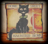 Halloween black cat primitive candlestick pumpkin home sweet haunted jol antique