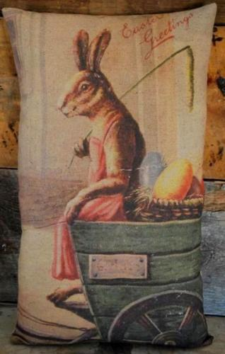 Easter antique vintage Mrs Bunny Rabbit with egg cart old postcard pillow
