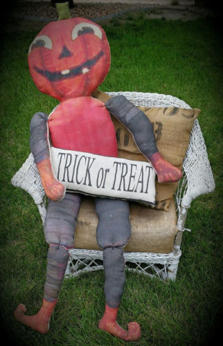 door wreath porch doll bench Halloween pumpkin man trick or treat fall harvest