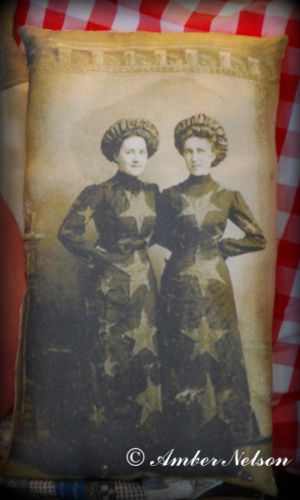 Patriotic 4th of July antique women star flag dress photo primitive old pillow