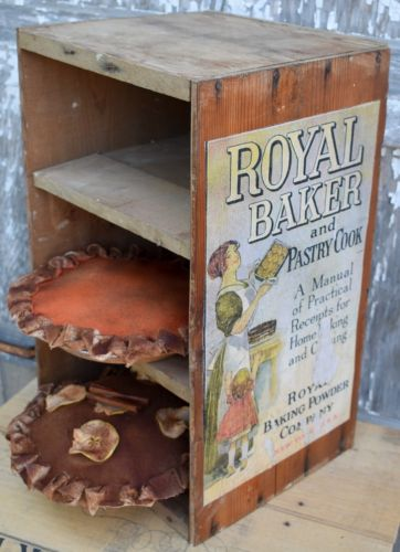Primitive Farmhouse Antique Pie Safe Shelf cupboard display fake pies old wooden