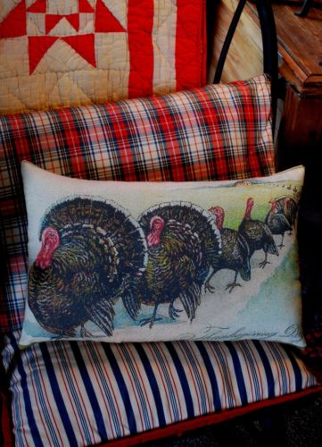 vintage Thanksgiving day dinner turkey family parade pillow farmhouse home decor