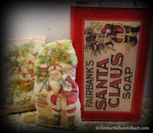 Christmas laundry bathroom Santa Claus Soap cupboard shelf tuck sign pillow #1