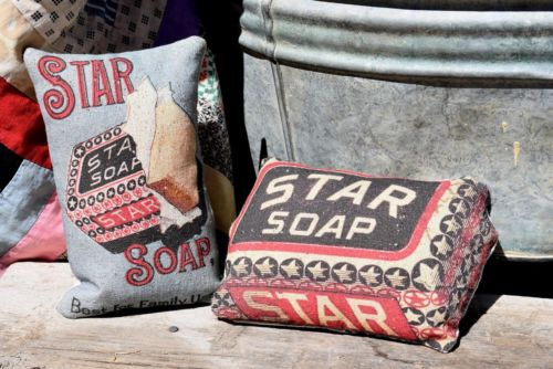 Primitive antique star soap laundry room bathroom cupboard tuck bowl fillers