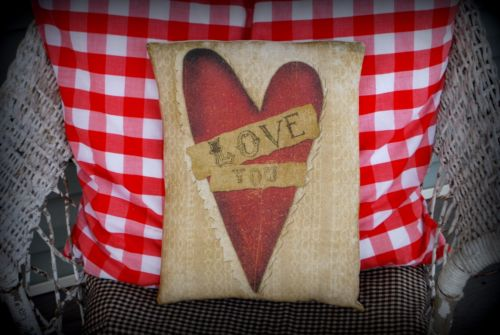 Valentines day Love you heart scrap paper pillow gift sign message primitive