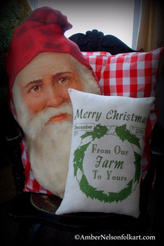 Christmas from our farm to yours Pillow farmhouse wreath gift porch primitive