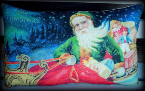Belsnickle Christmas throw decorative Santa Claus sleigh pillow antique old pc