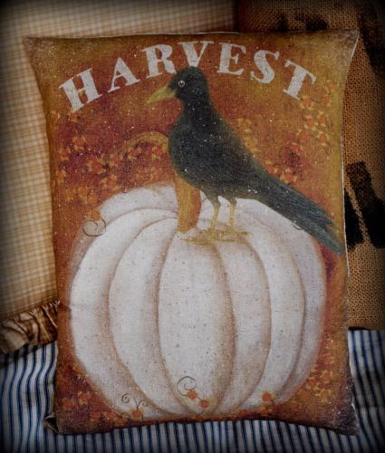 Harvest Black bird crow primitive pumpkin porch pillow gourd bittersweet brown
