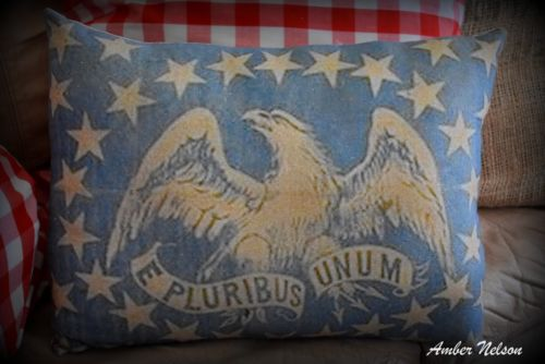 Primitive 4th of July patriotic Eagle American Flag E Pluribus Unum Old Antique