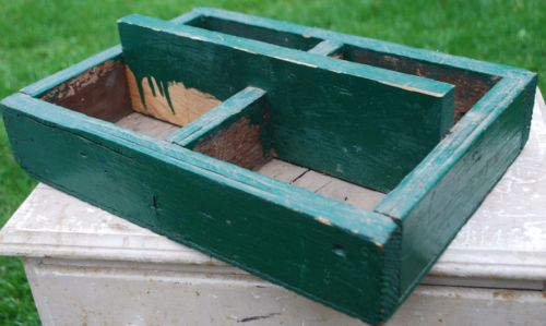 primitive antique old garden seeds carrying crate box trough tool display wooden