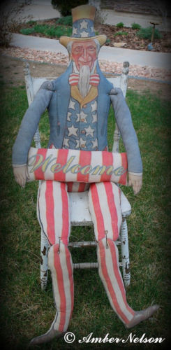 Primitive antique Uncle Sam flag wall door hanger chair sitter patriotic doll