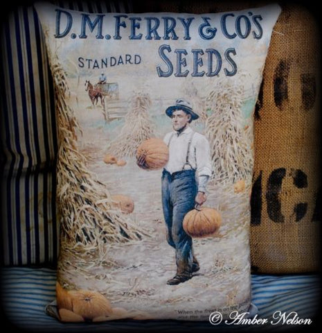 primitive Amish pumpkin harvest fall Autumn old seed sign pillow porch farmer