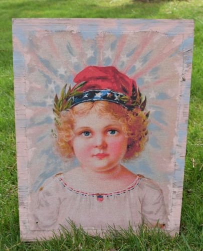 BIG patriotic American Flag child Liberty stars multi media painting 4th of July