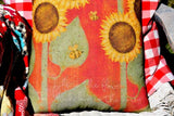 Sunflower Honey Bee love life porch pillow bright happy country primitive garden