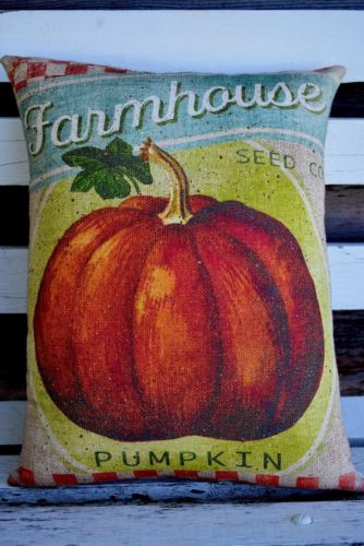 Farm Farmhouse Fall sign pillow pumpkin seed harvest porch rocker pillow