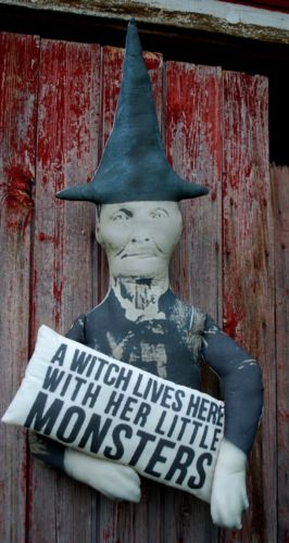 Halloween door hanger wreath witch lives here monsters sign old photo primitive
