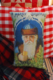 Belsnickle Christmas throw decorative Santa Claus sleigh pillow antique German