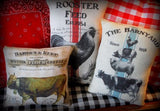 French country farm farmhouse grain sack bag rooster chicken feed pillow big