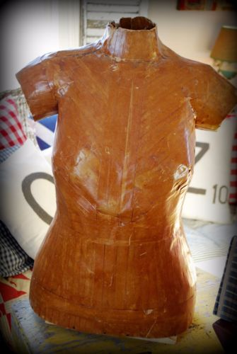 Early Old Antique primitive mannequin dress form for calico shirt dress display