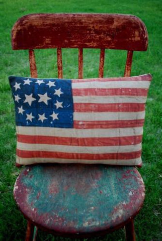 Early 4th of July circle star American flag pillow porch party decoration patio