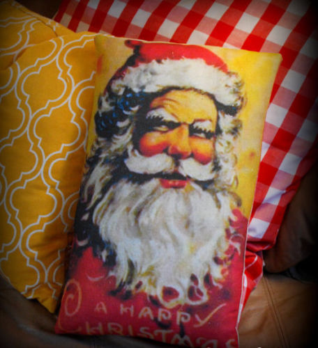Belsnickle colorful vintage Santa Claus Christmas pillow antique old world feel