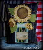Sunflowers mason jar farmhouse pillow ball fall harvest autumn rustic primitive